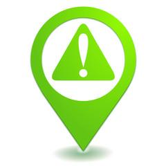 attention sur symbole localisation vert