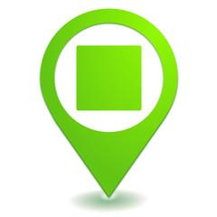 carré blanc sur symbole localisation vert