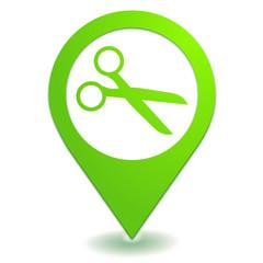 ciseaux sur symbole localisation vert