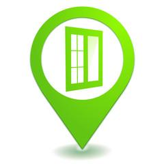 fenêtre sur symbole localisation vert