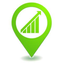 hausse sur symbole localisation vert
