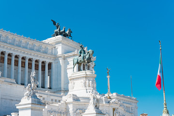Equestrian monument to Victor Emmanuel II near Vittoriano at day