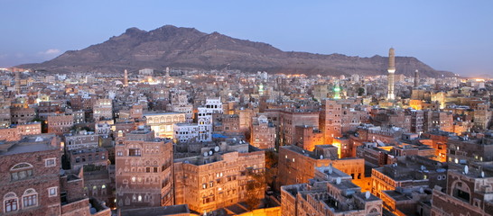 Old Sanaa view at dusk, Yemen