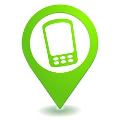 téléphone portable sur symbole localisation vert
