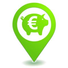 tirelire euro sur symbole localisation vert