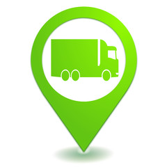 transport par camion sur symbole localisation vert
