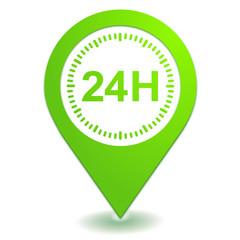 vingt quatre heures sur symbole localisation vert