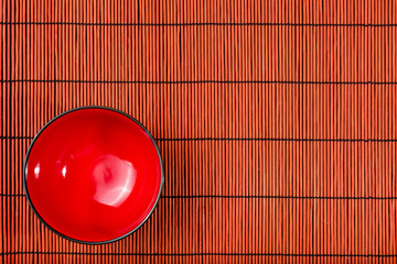 Plate on bamboo mat