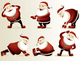 Cartoon Santa Claus gymnastics
