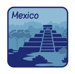 Illustration with Mayan pyramids in Mexico