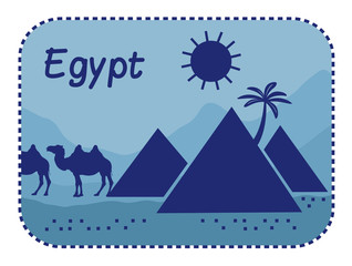 Illustration with pyramids in Egypt.