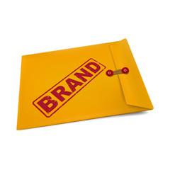 brand stamp on manila envelope