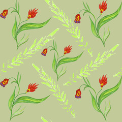 Seamless pattern with red flowers on a stalk