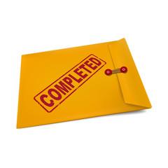 completed stamp on manila envelope