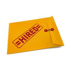 hired on manila envelope