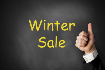 thumbs up winter sale chalkboard