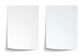 White squared notebook paper on white background