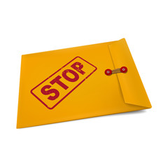 stop on manila envelope