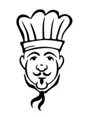 Chef in toque and necktie with a moustache