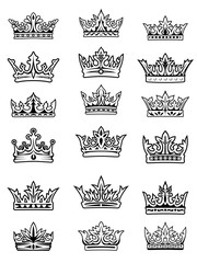 Set of black and white imperial and royal crowns