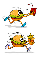 Running takeaway cartoon burger