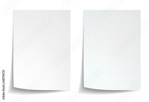 White squared notebook paper on white background - 68796721