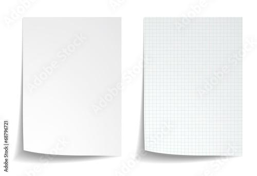 Fototapeta White squared notebook paper on white background