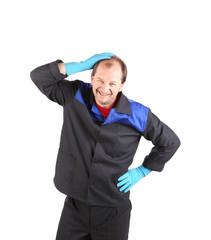 Happy worker in gloves.