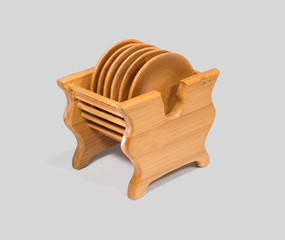 Wooden saucers on stand