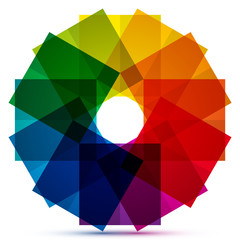Colored squares in a circle