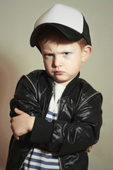 little boy.Hip-Hop Style. fashion children.young Rapper