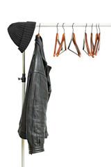 black leather jacket on a hanger