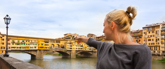 Tourist in Florence, Tuscany, Italy.