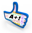 A Plus Grade Score Blue Thumb Up Symbol Review