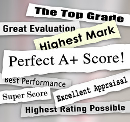 Perfect A Plus Score News Headlines Great Grade Review Evaluatio