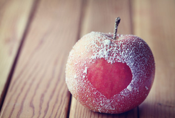 romance, apple, heart, symbol