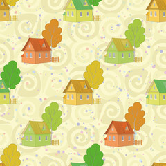 Seamless pattern, cartoon houses and trees