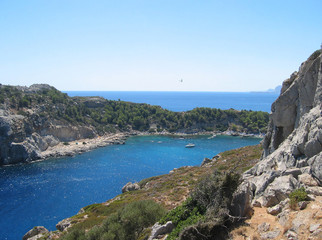 Small beautiful bay and the beautiful beaches Rhodes.