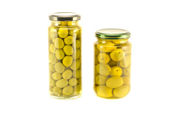 Green olives two glass jar isolated on white