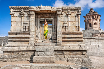Yoga in Hampi ruins
