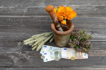 ancient mortar and medical herbs with euro money banknote