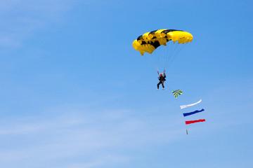 CHELYABINSK, RUSSIA - AUGUST 9th 2014: The parachutist on a Air