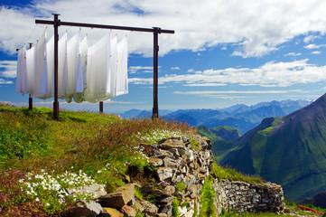 Bettwäsche in der Alpenluft