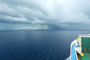 Sea summer view with stormy sky (Greece)