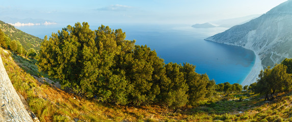 Top morning view of Myrtos Beach (Greece,  Kefalonia).