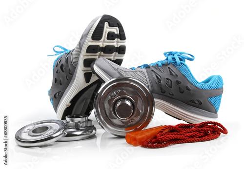 Fotobehang Persoonlijk fitness equipment isolated on white background