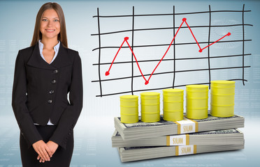 Businesswoman with barrels gas and money