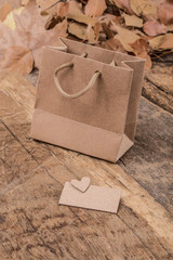 shopping bag and dried leafs on wooden surface