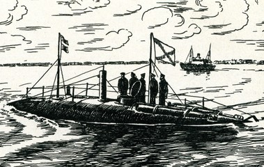 "First Russian battle submarine ""Delfin"""
