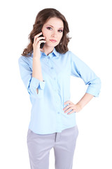 Young business woman with phone isolated on white
